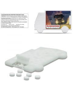 Kuorma-auton muotoinen, läpinäkyvä pastillirasia 7 g sokerittomia minttupastilleja