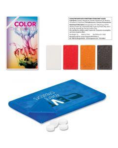 Mintcard, läpinäkyvässä, luottokortin kokoisessa rasiassa 14 g sokerittomia minttupastilleja, monivärinen digipainatus