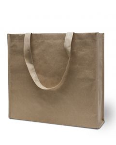 Paksu paperinen ostoskassi 42 x 38 x 10 cm kuitukangashihnoilla painatusmalli
