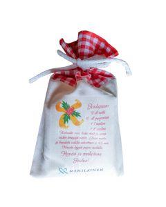 Riisipuuropussi + joulumantelit kangaspussissa joulutervehdyksellänne,Joulupuuropussin ruutujen värit: vihreä luonnonvalkoisella pohjalla ja punainen ja sininen valkoisessa pohjalla