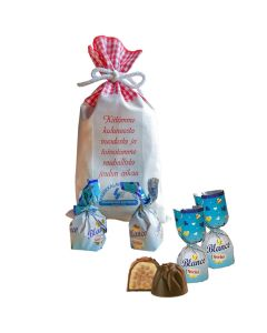 Italialaisia konvehteja 250 g kangaspussissa digipainetulla joulutervehdyksellänne