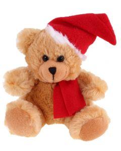 Joulukarhu 15 cm, teddykarhu tonttulakilla ja kaulaliinalla