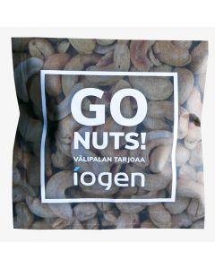 Pähkinäkortti  hasselpähkinä tai cashewpähkinä 100 x 100 mm omalla painatuksellanne molemmin puolin