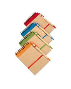 Kierrelehtiö A6-kokoinen, pehmeäkantinen sekä biohajoava kynä