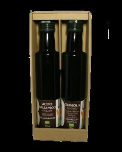 Lahjasetti oliiviöljyä ja balsamicoa