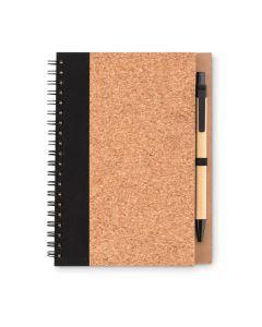Kierrelehtiö korkkikannella sekä kynä